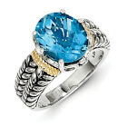 Swiss Blue Topaz Ring .925 Sterling Silver & 14K Gold Accent Sz 6-8 Shey Couture