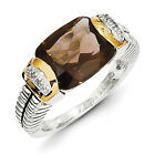 Smokey Quartz & Diamond Ring .925 Sterling Silver 0.02 Ct Size 6-8 Shey Couture