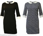 NEW EX RIVER ISLAND BLACK BLUE WHITE 1960S VINTAGE PETER PAN COLLAR TUNIC DRESS