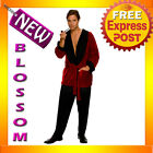 C566 Licensed Playboy Men's Hugh Hefner Smoking Jacket Robe Adult Costume & Pipe