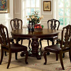 Bally English Style Brown Cherry Finish Formal Round Dining Table Set