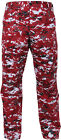 Red Digital Camouflage Military BDU Cargo Bottoms Fatigue Trouser Pants