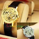 Ladies Retro Dial Mechanical Skeleton Wrist Watches Leather Band Hand-winding US