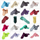 New Skinny Slim Quality Mens Satin Wedding Solid Plain Necktie Color Tie Party