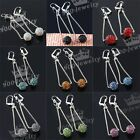 Pair Crystal Rhinestone 10mm Disco Ball Dangle Long Chain Earrings