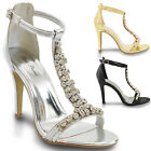 WOMENS HIGH HEEL PARTY DIAMANTE LADIES SILVER GOLD PROM SHOES SANDALS SIZE 3-8
