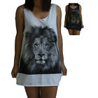 Leopard Lion Tiger Print Vest Tank-Top Singlet (Dress T-Shirt) Sizes S M L XL