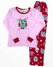 Girls Winter Cotton Top Flannel 2pc Pyjamas Pjs Pink Red 1 Owl Sz 8 10 12 14