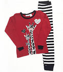 Girls Winter Long Cotton Set 2pc Pyjamas Pjs Red White Giraffe Sz 8 10 12 14