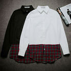 New Men's Trendy Black Red Plaid Check Hem Slim Fit Button Front Long Shirt Top