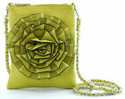 Rose Flower Classic Chained Cross-Body Purse - MUSTARD (LIME)