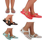 WOMENS LADIES BOW JELLY JELLIES RETRO SLINGBACK BEACH SUMMER SANDAL SHOE SIZE UK
