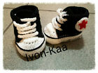 Crochet baby boy girl black sport shoes winter, newborn infant