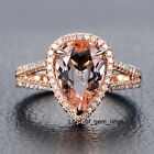 Morganite Diamond Ring in 14K Rose Gold Engagement Ring,8x12mm Pear,Claw Prongs
