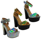 NEW WOMENS LADIES ANKLE BUCKLE HIGH BLOCK HEEL PLATFORM SANDAL SHOES SIZE 3-8