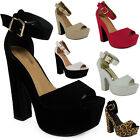 NEW WOMENS LADIES ANKLE PARTY STRAPS HIGH BLOCK HEEL PLATFORM SANDAL SHOE SIZE