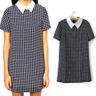 Women Turn-Down Collar Plaid Grid Short Sleeve Evening Party Cocktail Mini Dress