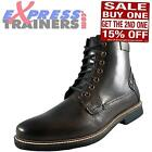 Firetrap Mens Mack 7 Eye Lace Up Casual Leather Designer Boots Brown *AUTHENTIC*