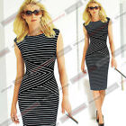 Womens Summer Elegant Striped Wear to Work Party Prom Cocktail Pencil Dress 548