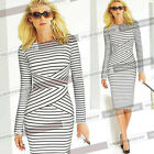 Womens Summer Elegant Striped Wear to Work Casual Party Bodycon Pencil Dress 548