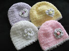 HANDCROCHETED SHIMMERY BABY HATS WITH HEART or FLOWER..TINY  UP TO 9/12 MONTHS