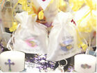 PERSONALISED CHALICE BAG & CANDLE FIRST HOLY COMMUNION FAVOUR / GIFT BAGS Satin