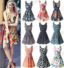 Sexy Women Casual Chiffon Sleeveless Sundress Beach Floral Tank Mini Dress S-XXL