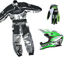 Kids Wulfsport MX Childrens Grey Overall Helmet & Glove Green Camo Set #24
