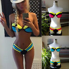 Women Sexy 2 Piece Triangle Padded Wire Push-up Bra Swimwear Swimsuit