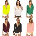New Women Chiffon V-neck Top Long Sleeve Shirt Casual Blouse Loose T-shirt Lady