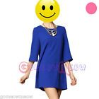 Fashion Womens Lady Chiffon Loose Three Quarter Sleeve Straight Mini Dress