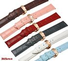 12~24mm Leather Cowhide Rose Gold Push Butterfly Steel Buckle Clasp Watch Strap