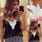 HOT Women Lace Stitching Sleeveless Strap Lady Chiffon Loose Casual Blouse Tops