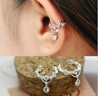 Women Ear Cuff Wrap Rhinestone crystal Clip On Earring Jewelry silver one