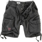 Surplus Mens Military Cargos Airborne Vintage Cotton Police Shorts Black Washed