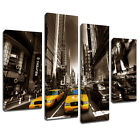 MSC039 New York Taxis Sepia Canvas Wall Art Multi Panel Split Picture Print