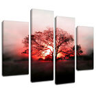MSC112 Red Glow Sunset Tree Canvas Wall Art Multi Panel Split Picture Print