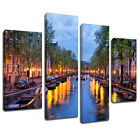 MSC375 Amsterdam Canal Canvas Wall Art Multi Panel Split Picture Print