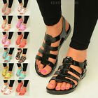 Womens Flat Jelly Sandals Ladies Peep Toe Retro Strappy Flip Flops Shoes Size UK
