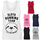 Womens Sloth Running Team Let's Nap Instead Funny Vest Tank Top NEW UK 8-18