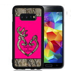 PERSONALIZED RUBBER CASE FOR SAMSUNG S5 S6 S7 S8 EDGE PLUS HOT PINK CAMO DEER