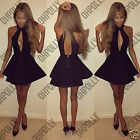 Womens Black White Halterneck Sexy Backless Cut Out Skater Party Bodycon Dress