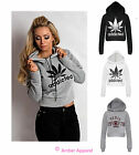 WOMENS ADDICTED CROP LADIES PARIS HOODIE SWEAT TOP SIZES 8-14