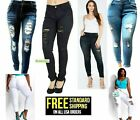 WOMENS PLUS SIZE Stretch Distressed Ripped BLUE SKINNY DENIM JEANS PANTS N936-R