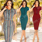 Womens Elegant Vintage Button Front Belted Wear to Work Bodycon Wiggle Dress 340