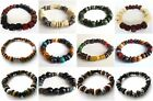 ETHNIC INSPIRED MENS GIFT HANDMADE SURFER RASTA BEADED STRETCH ELASTIC BRACELET