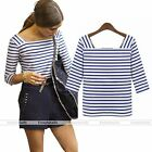 2015 Summer Stretch Women Stripe T-Shirt OL Carer Casual Blouse Cotton Tee Tops
