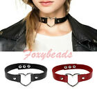 1X Punk Cool Unisex Genuine Leather Love Heart Ring Collar Choker Funky Necklace