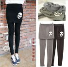 US Punk winter Skull Skirt skinny Pants Elastic Waist Legging Warm Gothic cotton