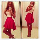 New Women's Casual Round Neck Sleeveless Elastic Waist Big Swing Sexy Dress - CB